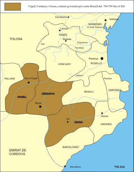 Approximate domains of Count Borrell I in their context prior to Aizos revolt
