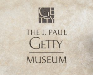 THe J Paul Getty Museum Logo taken from a carv...