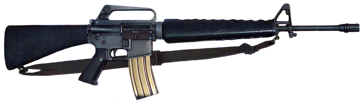 M16 assault rifle. You can easily and legally acquire lethal weapons such as this in the USA.