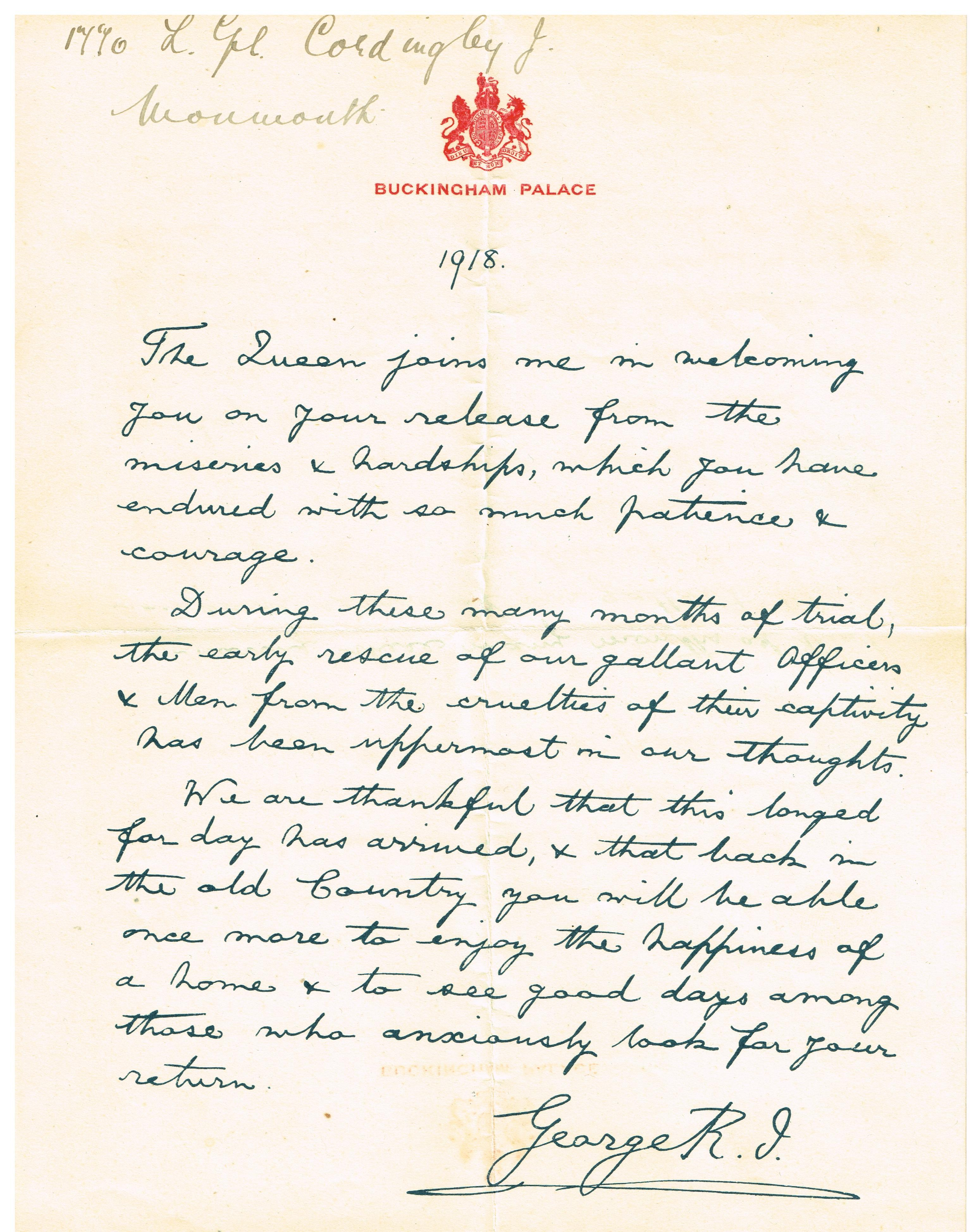 File Hand Written Letter Of Recognition For World War 1