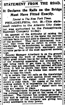 English: Clipping from New York Times, 1906. O...