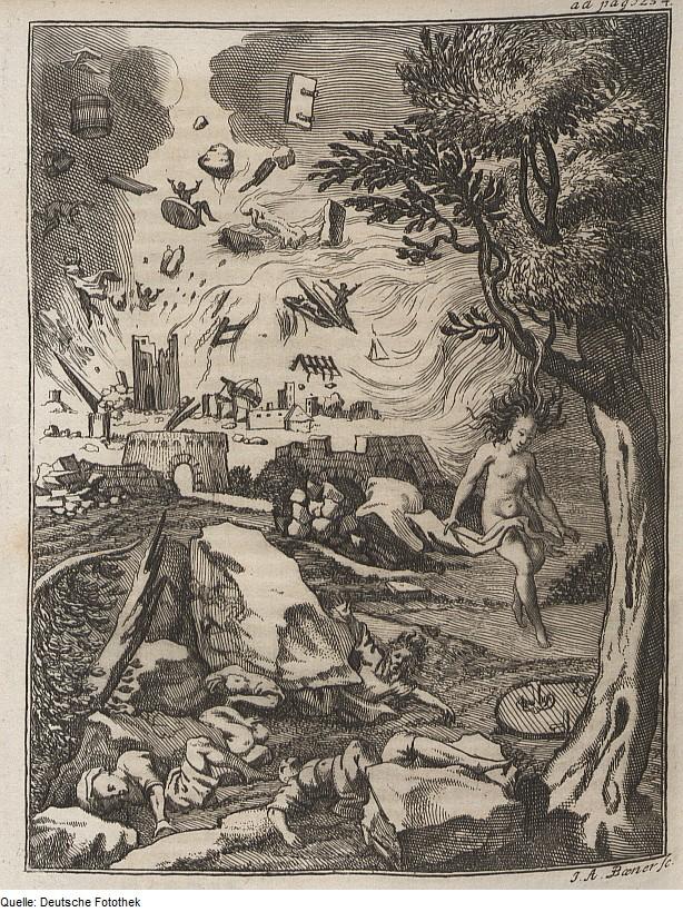 Von Donner, Hagel und Ungewitter, von Erasmus Francisci 1680, aus der Deutschen Fotothek, bescheuerterweise mit CC by SA lizenziert, glaub kaum dass Erasmus das noch würdigen kann, ist eigentlich gemeinfrei