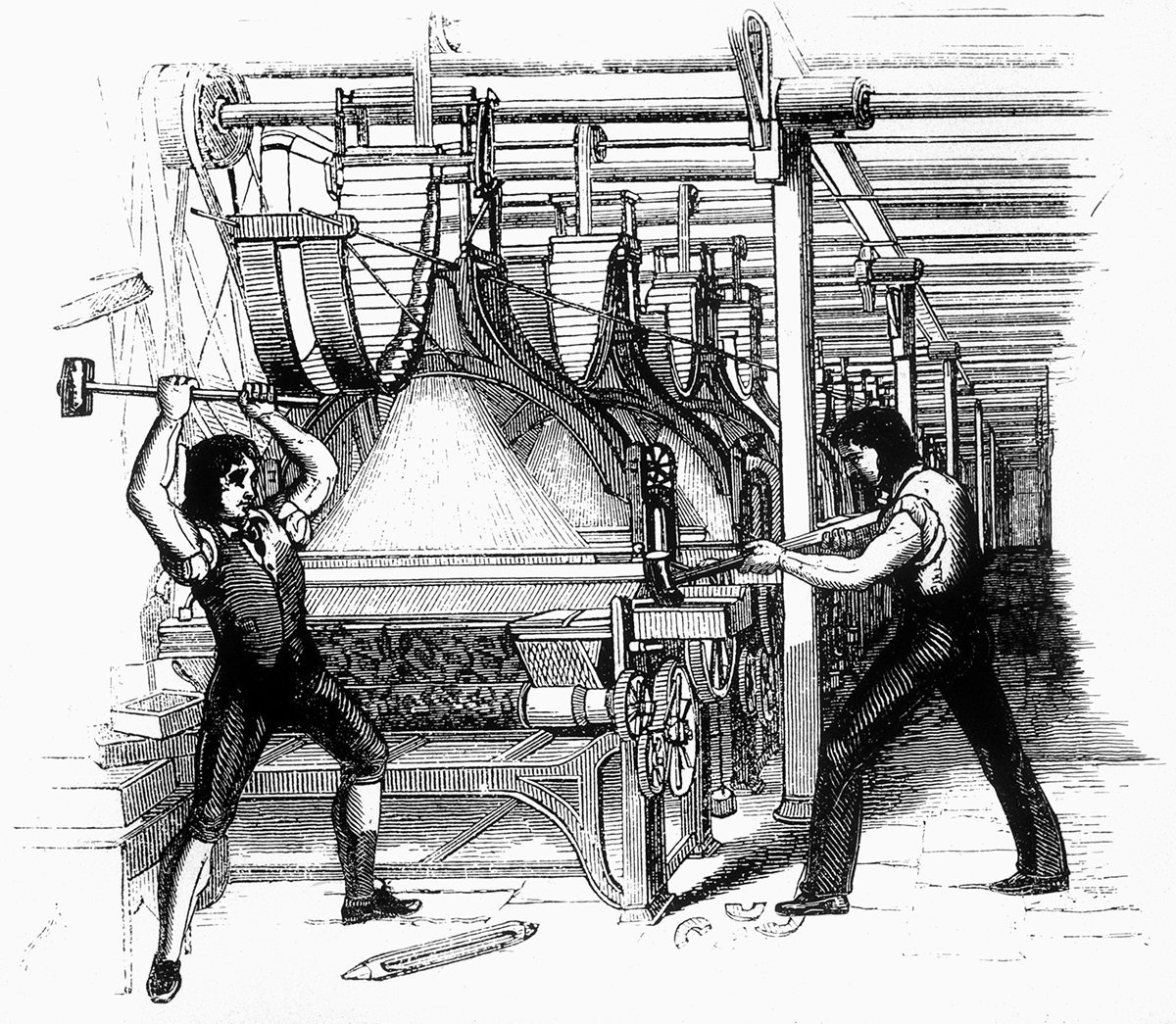 Luddites smashing a power loom in 1812.