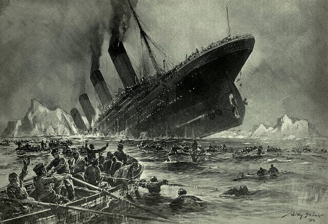 The sinking of the RMS Titanic, as painted by ...