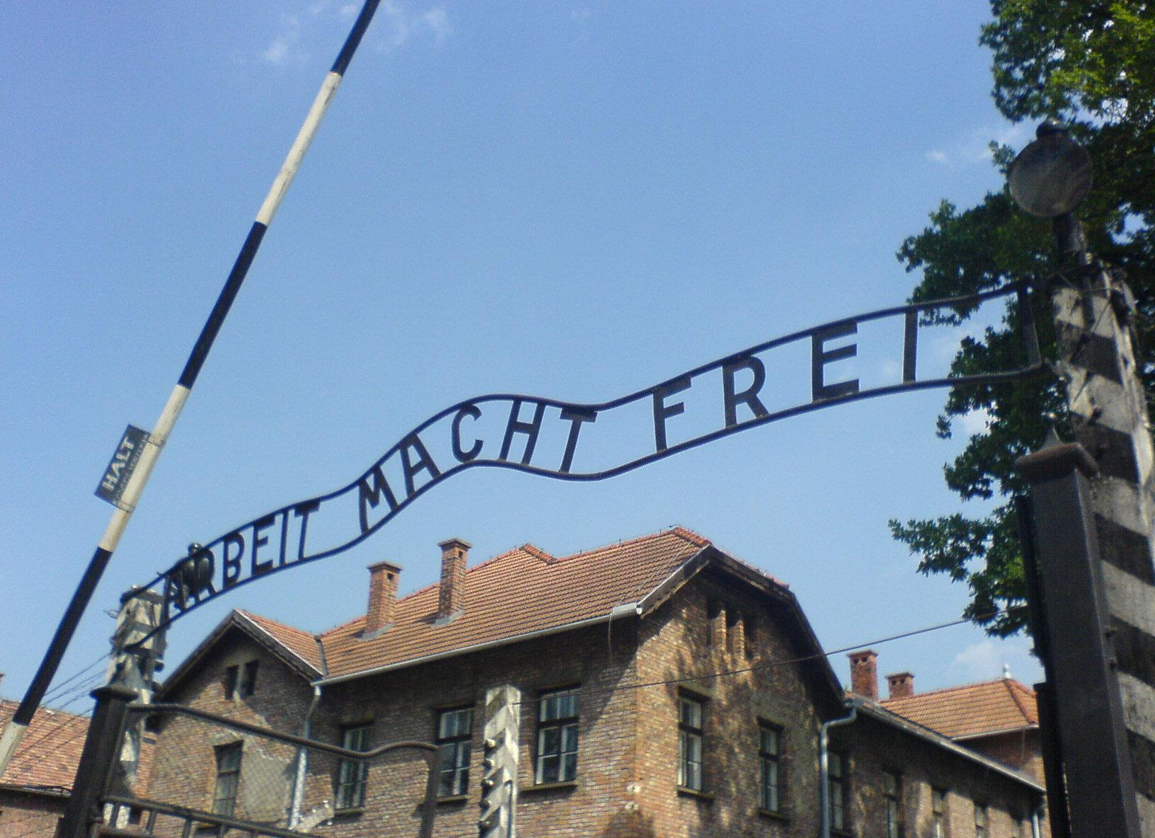 The entry gate to Auschwitz concentration camp, taken in July 2006