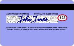 Sample VISA, MasterCard or Discover Card featu...