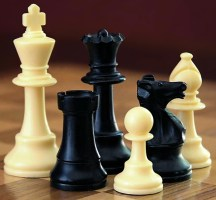 A selection of black and white chess pieces on a chequered surface.