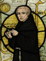 William of Ockham, from stained glass window a...