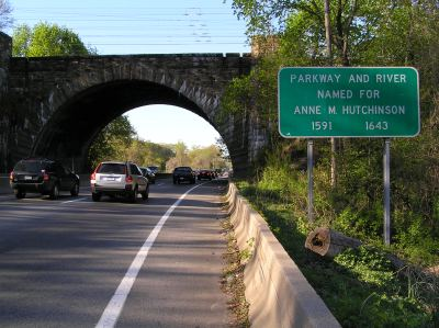 Photo of road sign on Hutchinson River Parkway in Pelham, NY. Sign reads: