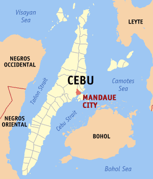 English: Map of Cebu showing the location of M...