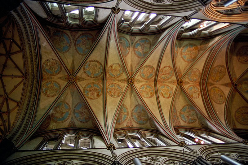 The vaulted ceiling of Salisbury Cathedral.