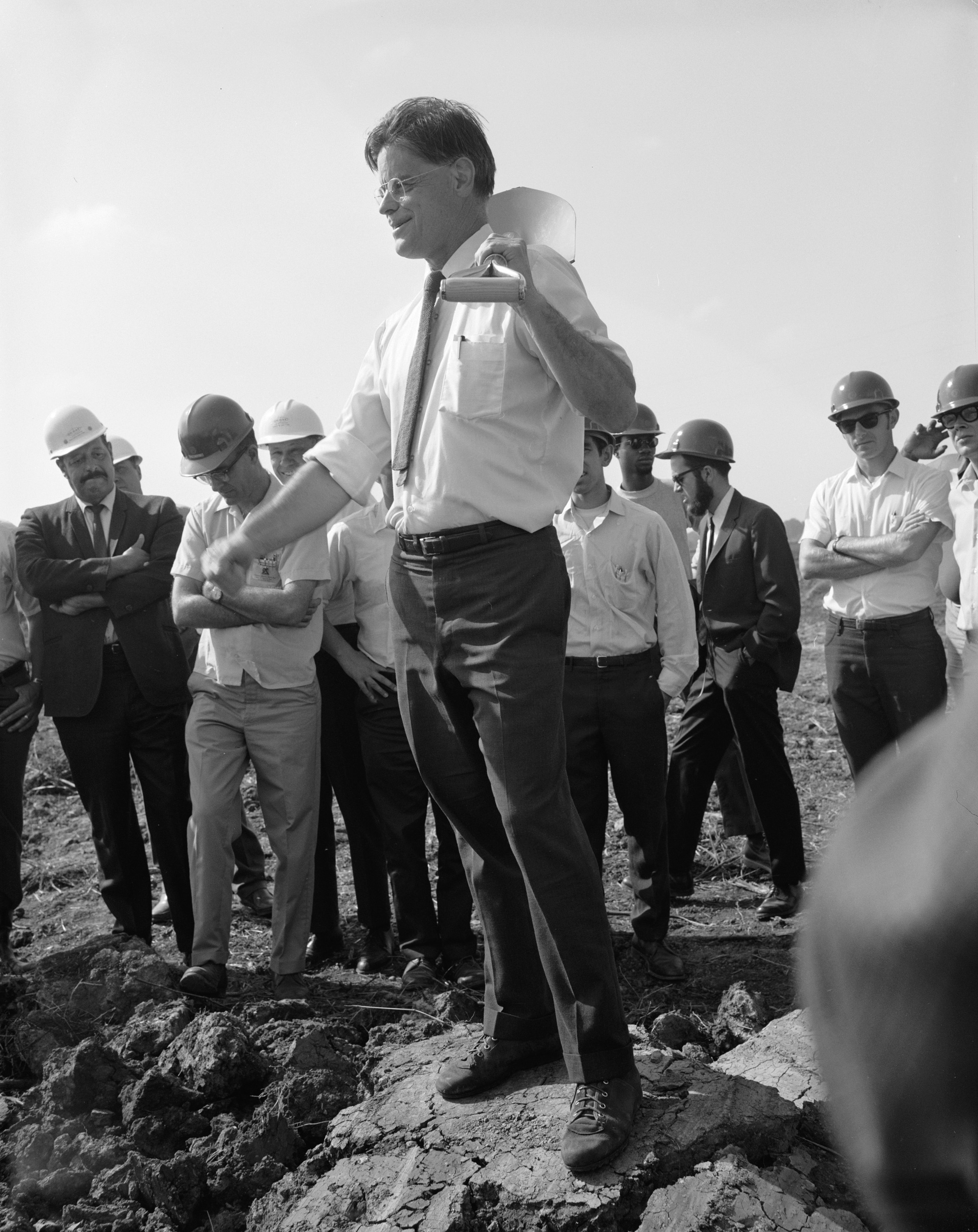 Robert R. Wilson at the 1968 groundbreaking of Fermilab