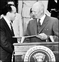 Photo of Dr. Jonas Salk receiving a Gold Medal...