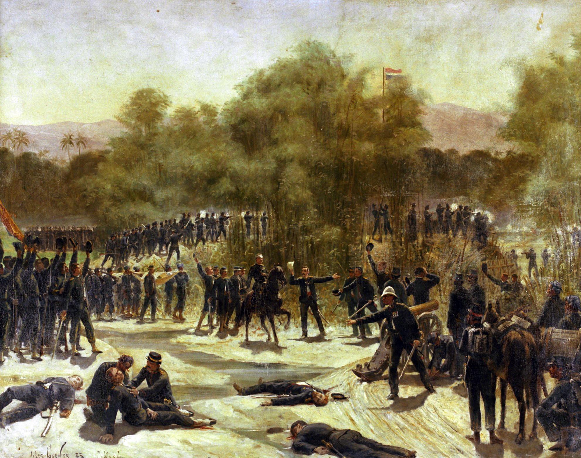 1e Slag bij Samalanga 26 aug 1877. Geschilderd door Jules Garnier (Collectie Bronbeek).
