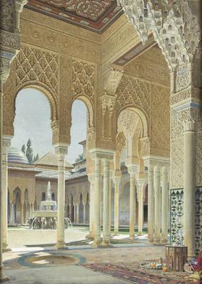 The interiors of the Alhambra in Granada, Spai...