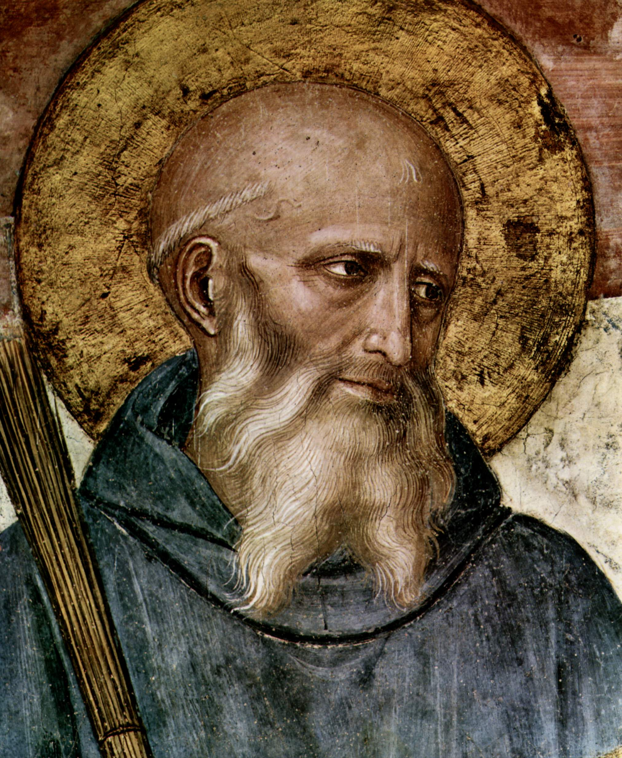 Saint Benedict, father of Western monasticism and author of Rule of St Benedict. Detail from fresco by Fra Angelico, c. 1437–46.
