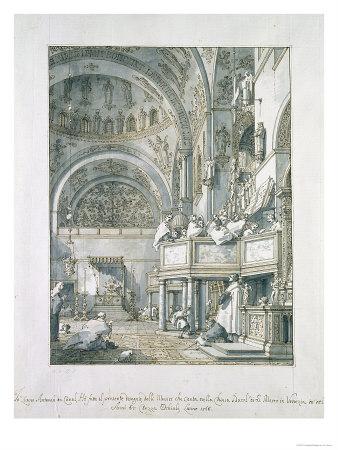 English: The Choir Singing in St. Mark`s Basil...