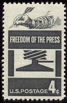 """Briefmarke """"Pressefreiheit"""", U.S.A 1958"""