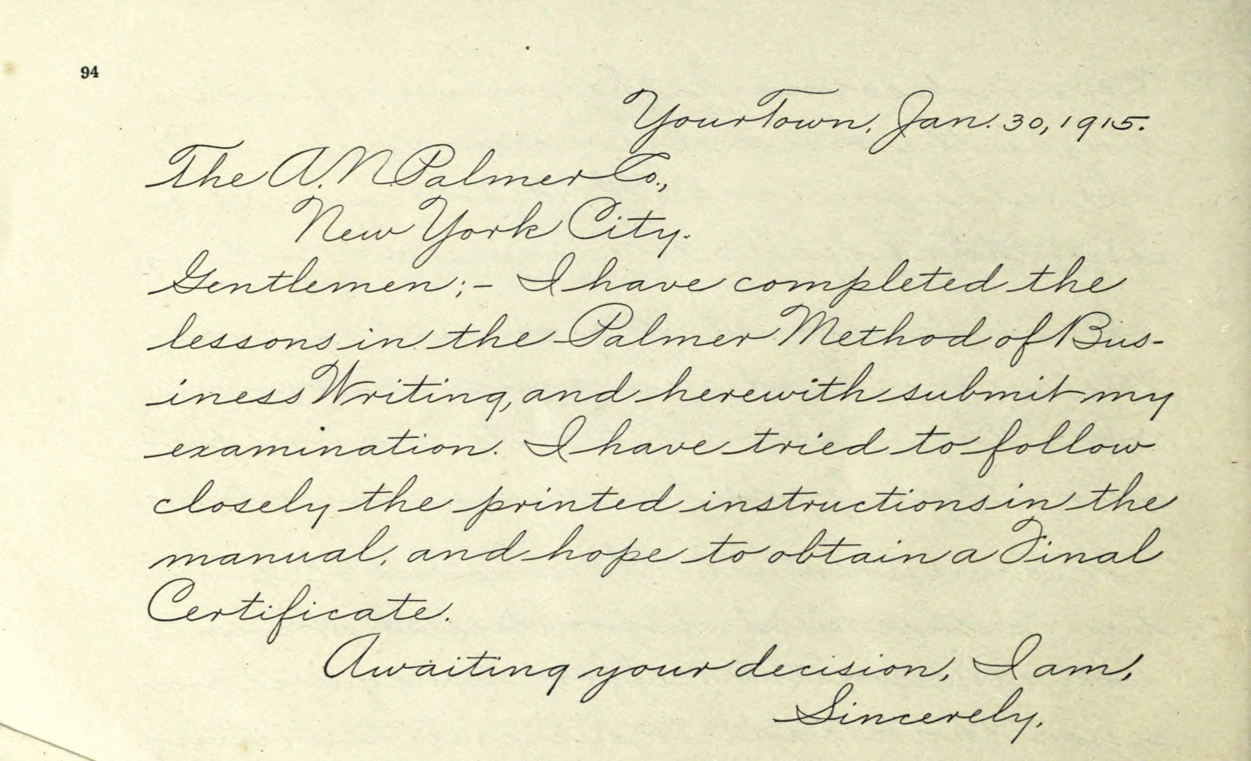A Sample Of The Palmer Method Of Cursive Writing