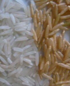 Brown and white rice.