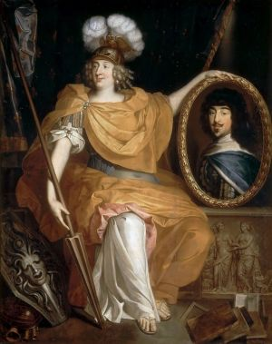 Anne Marie Louise d'Orléans by Pierre Bourguignon holding a portrait of her father.jpg