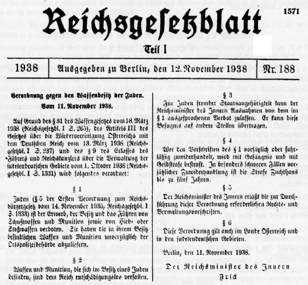 German Weapons Act of 18 March 1938 (RGBl I, 265)