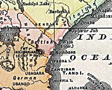 Nederlands: Duits Witu in 1890. Witu an der ostafrikanischen Küste, Karte um 1890