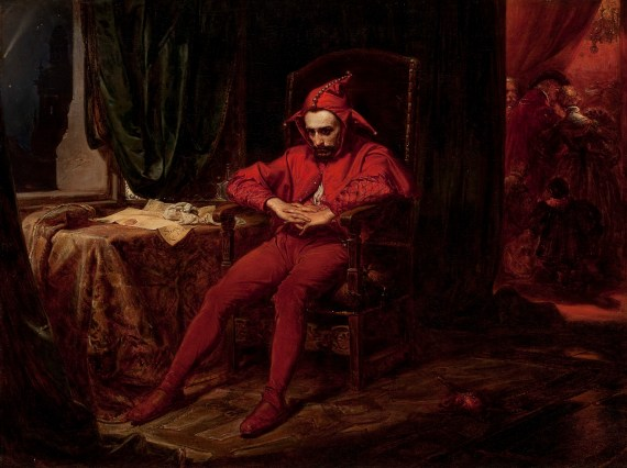 Renaissance painting of a fool or jester sitting in a chair looking forlorn.