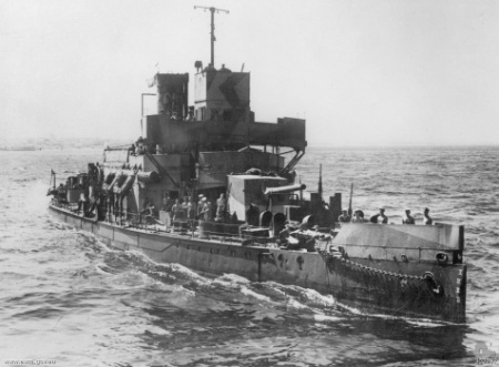 HMS Aphis during WW2 - note the good view on the 6 gun and the additional AA armament.