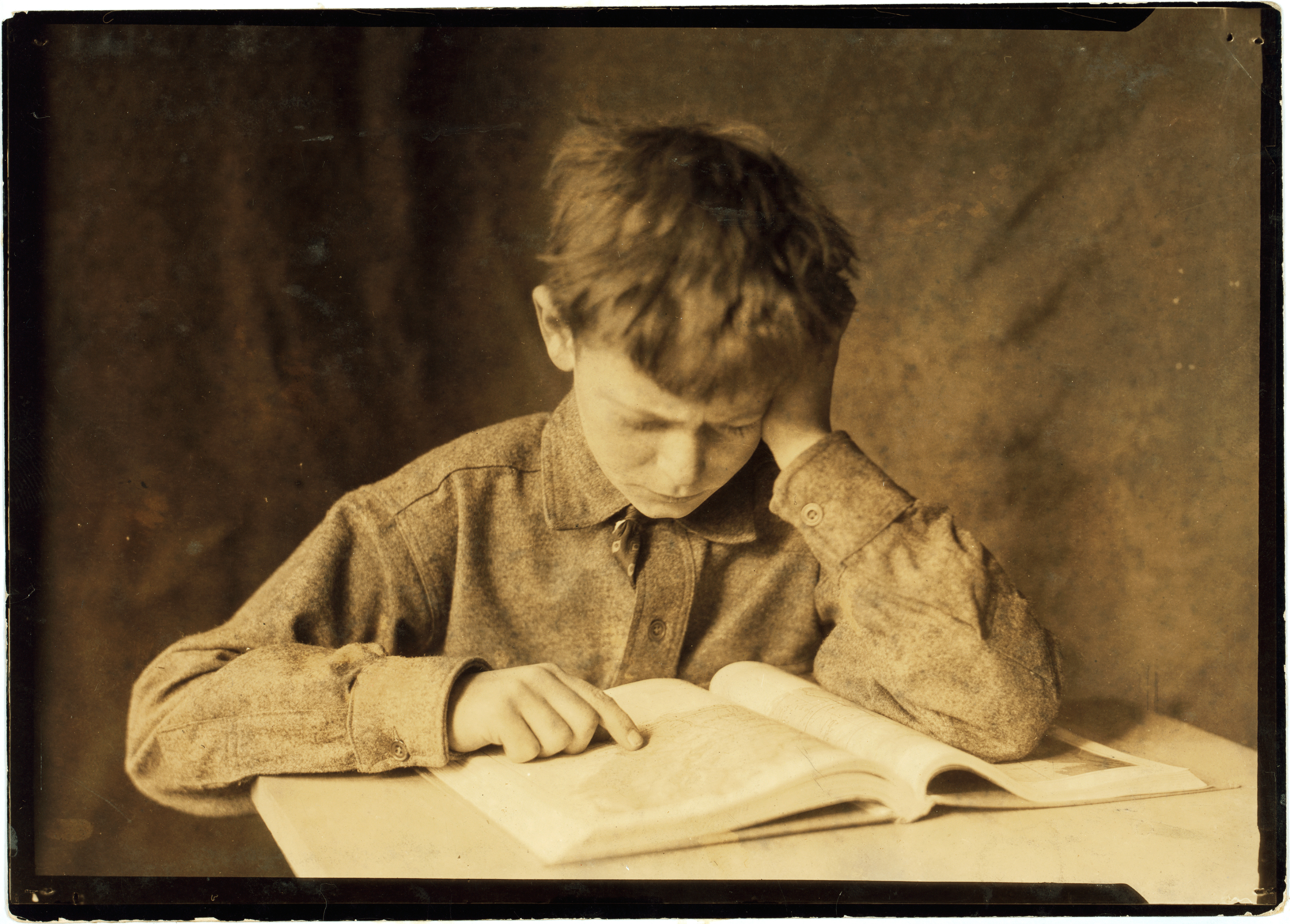 A boy studying