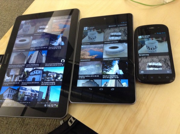 Android evices in different sizes