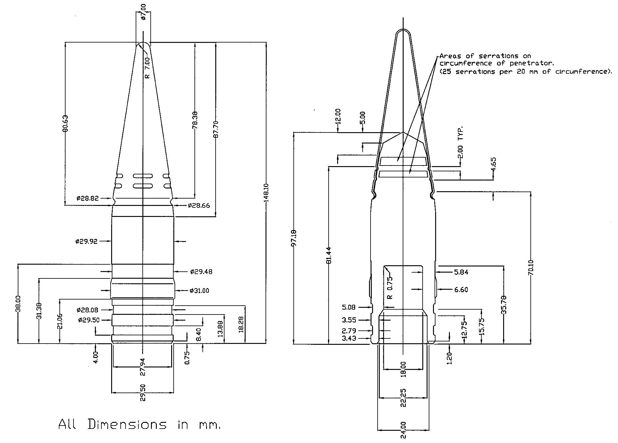 File 30 Mm Bt He T Shell 2a42 Cannon