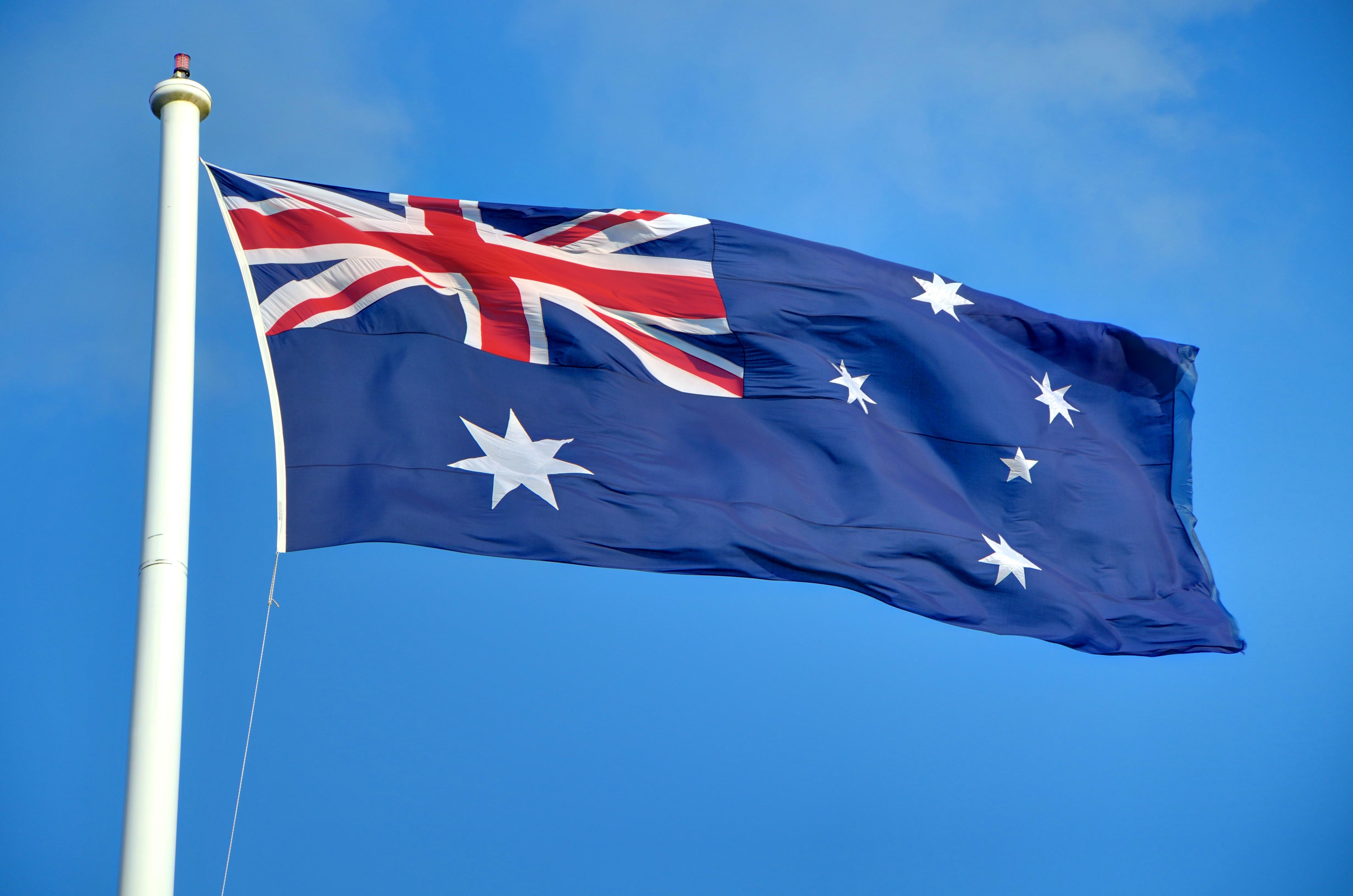 English: Australian flag seen flying in Toowoo...
