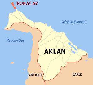 Location of Boracay above Panay Island.