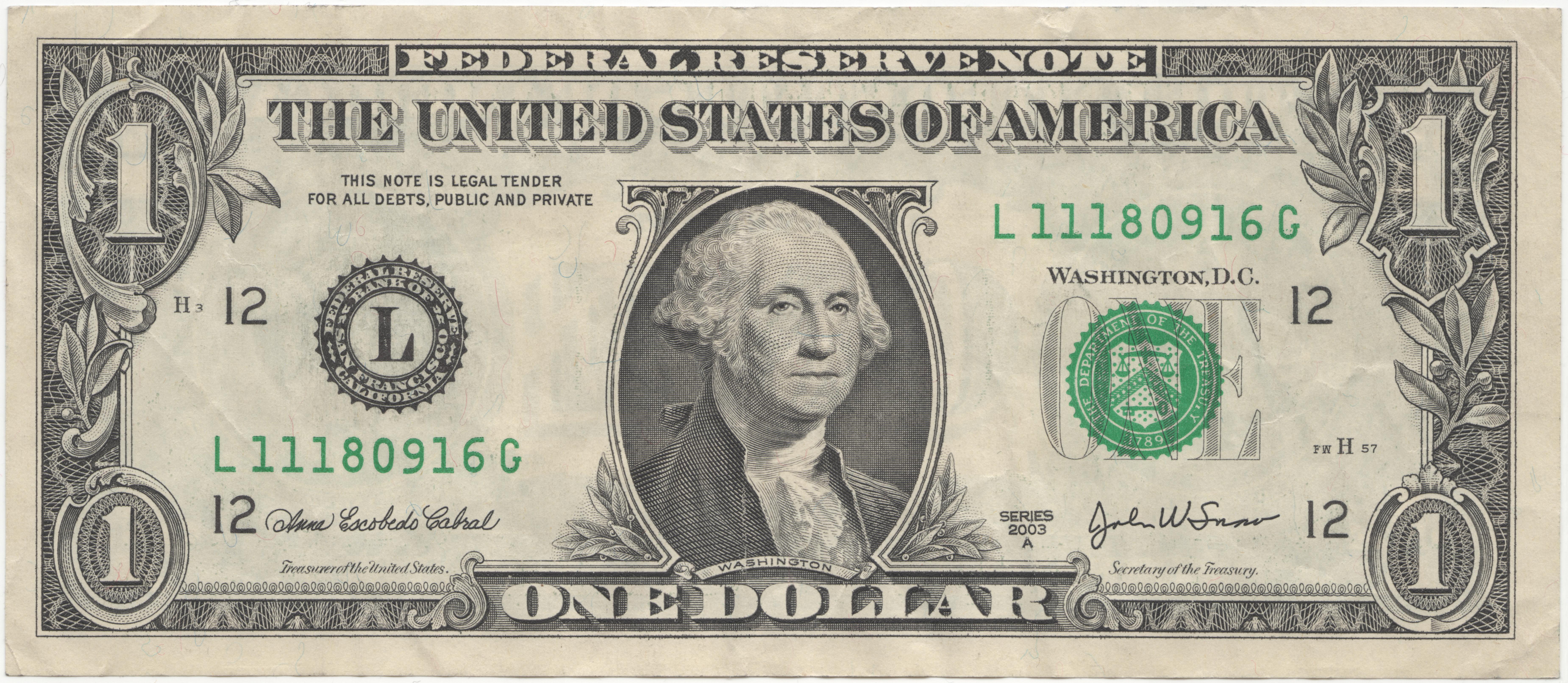 File United States One Dollar Bill Obverse
