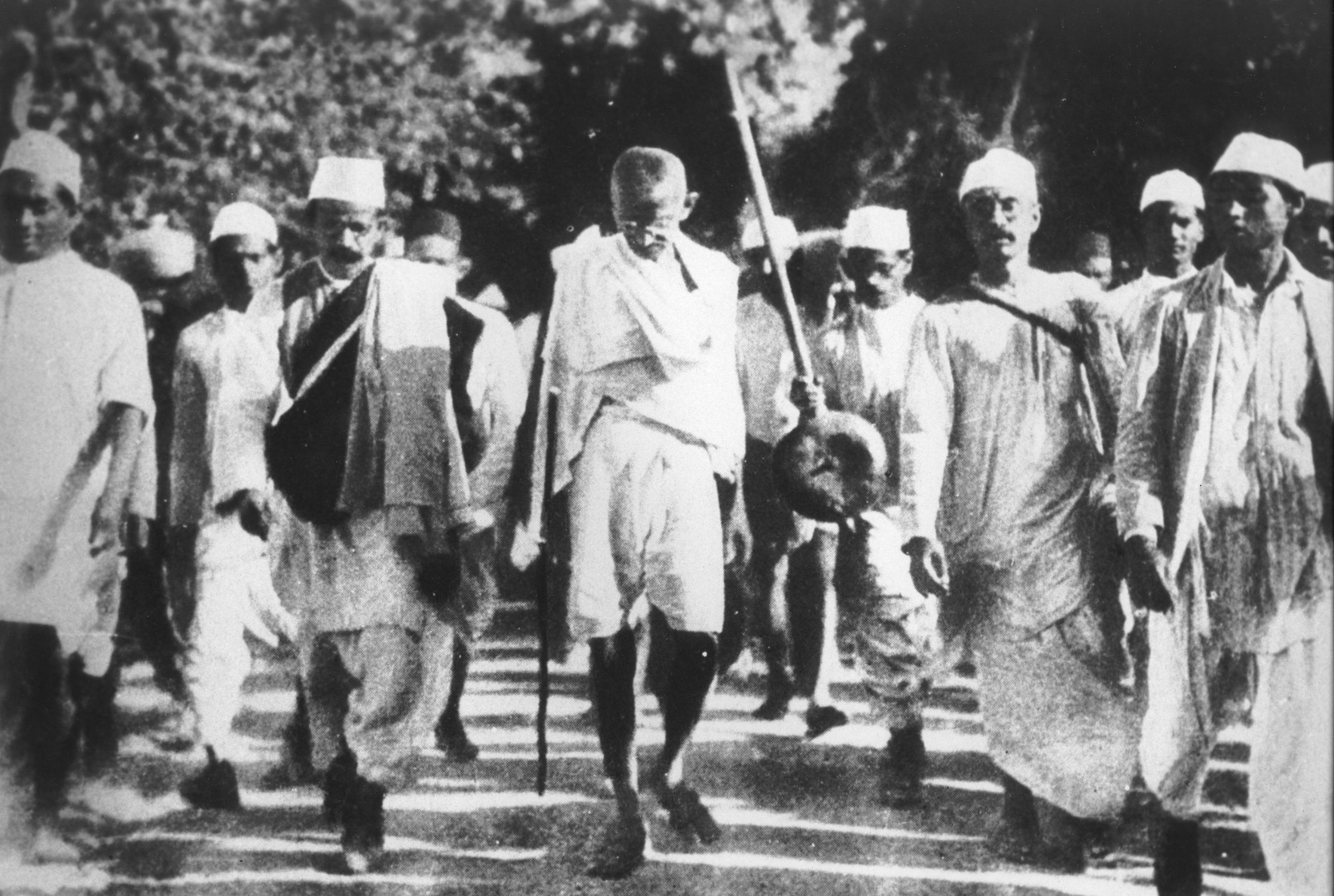 Gandhi during the Salt March, March 1930.  Photographer unknown.