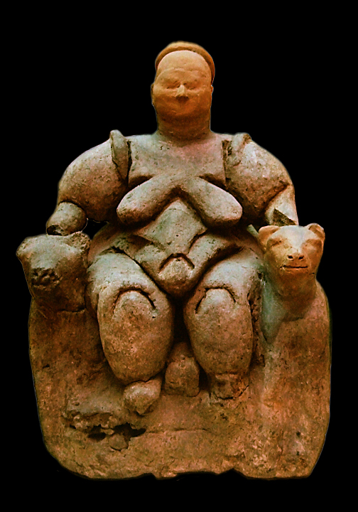 Göttin auf dem Löwenthron, Figur aus Çatalhöyük (7400-6200 BC)
