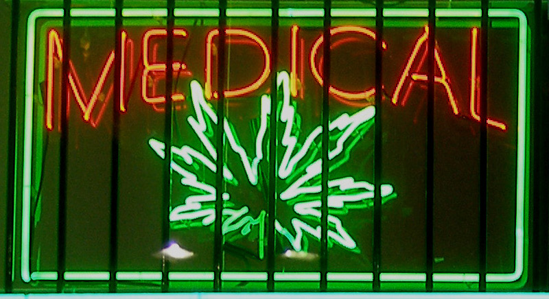 English: Medical marijuana neon sign at a disp...