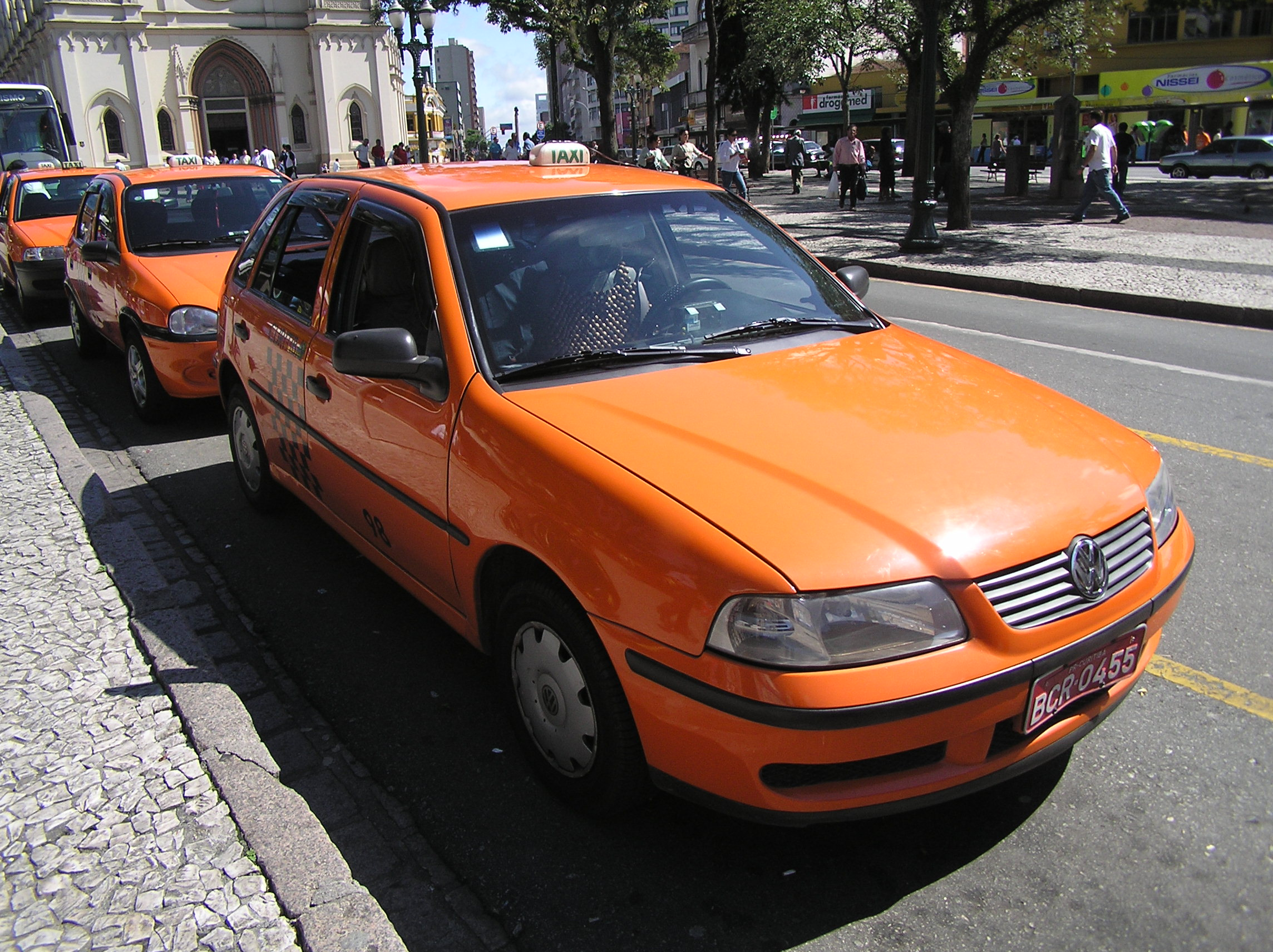 Orange Colour Taxis.