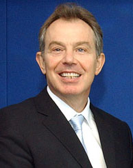 Former UK Prime Minister Tony Blair. Blair was...
