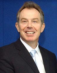 Former UK Prime Minister Tony Blair. Blair was...