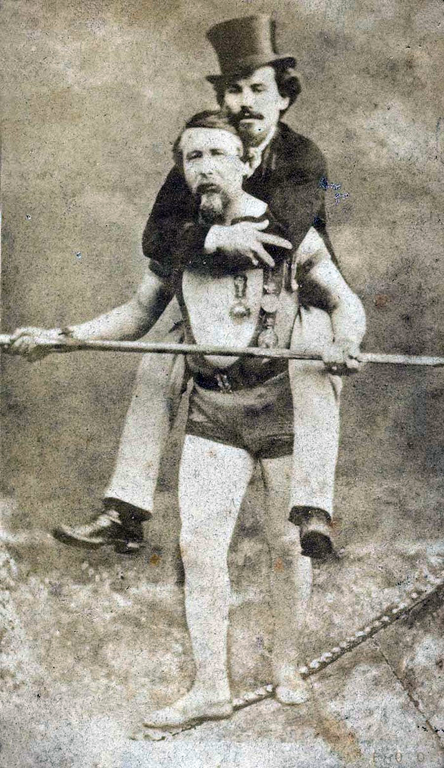 English: Blondin carrying his manager, Harry C...