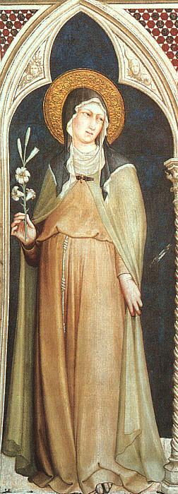 Polski: Św. Klara z Asyżu, fresk z 1317 w bazy...