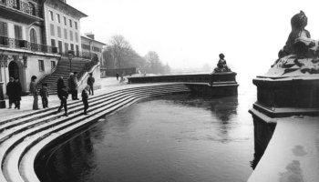 Schloss Pillnitz bei Hochwasser 1987