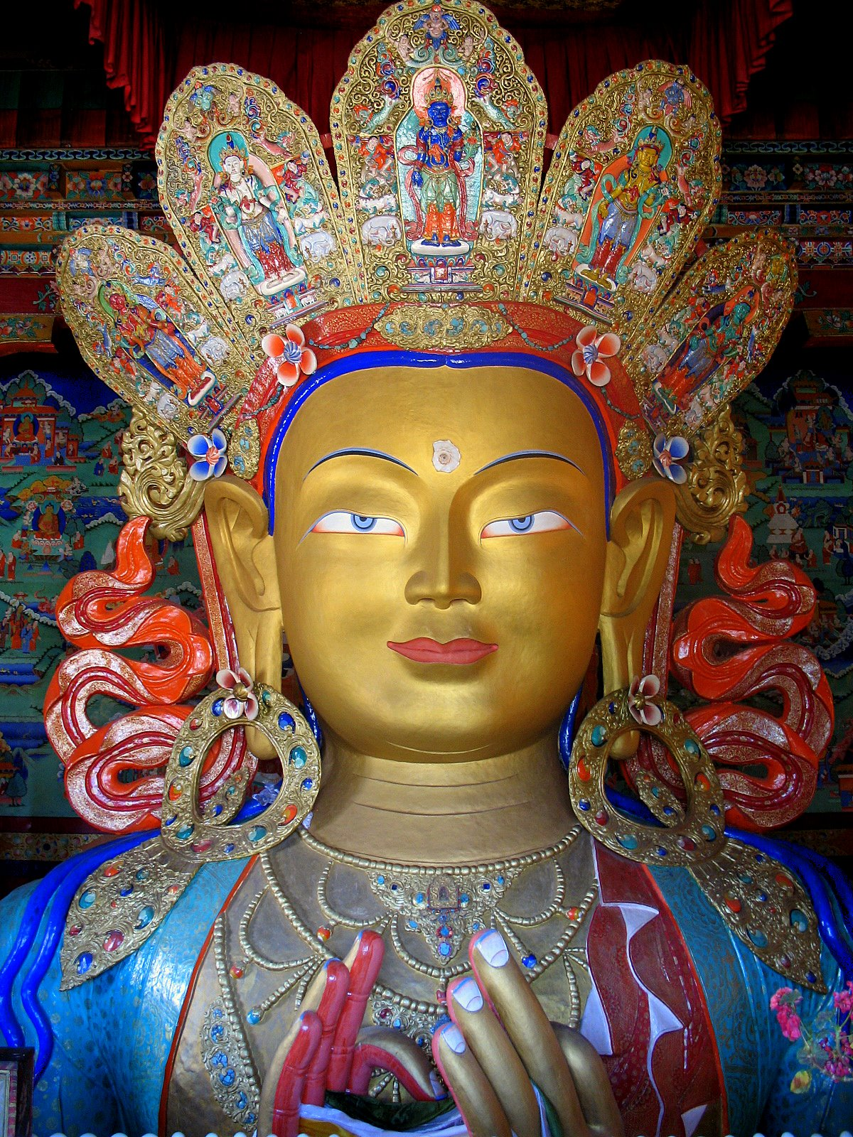 Thikse monastery. This statue of the Maitreya ...