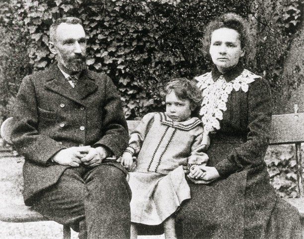 Pierre, Irene and Marie Curie,