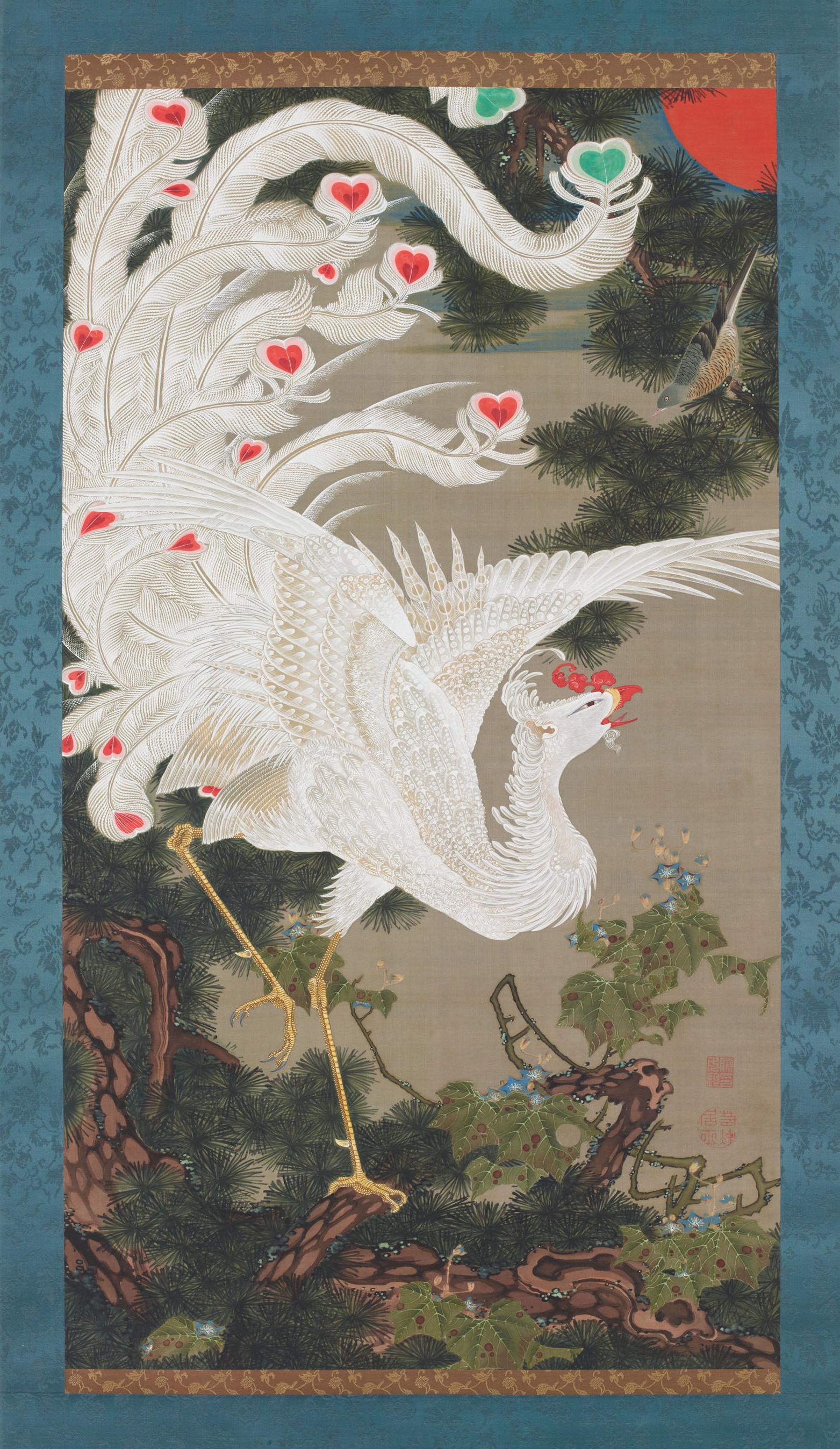 """English: Ito Jakuchu's """"White Phoenix on ..."""