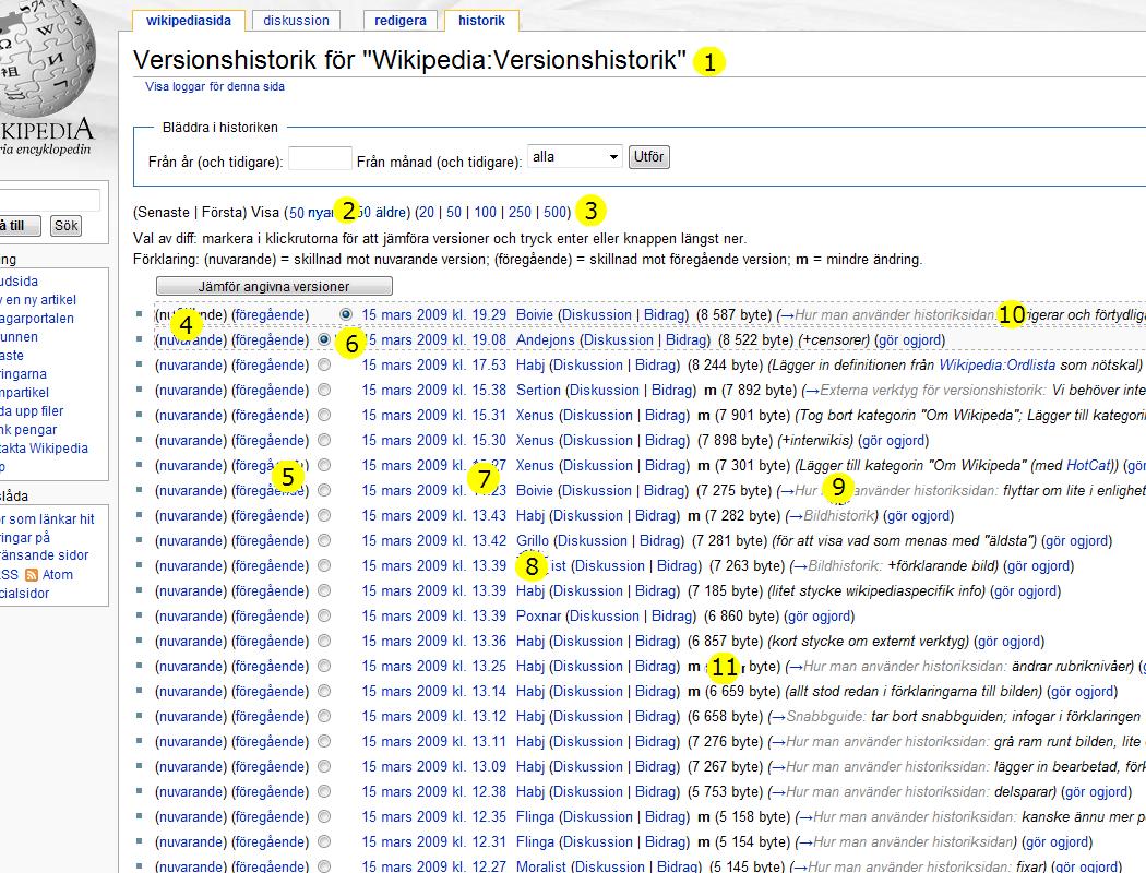 För mer information om vad siffrorna står för, skriv Wikipedia:Versionshistorik i Wikipedias sökruta