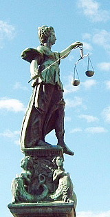 Sculpture of Lady Justice on the Gerechtigkeit...