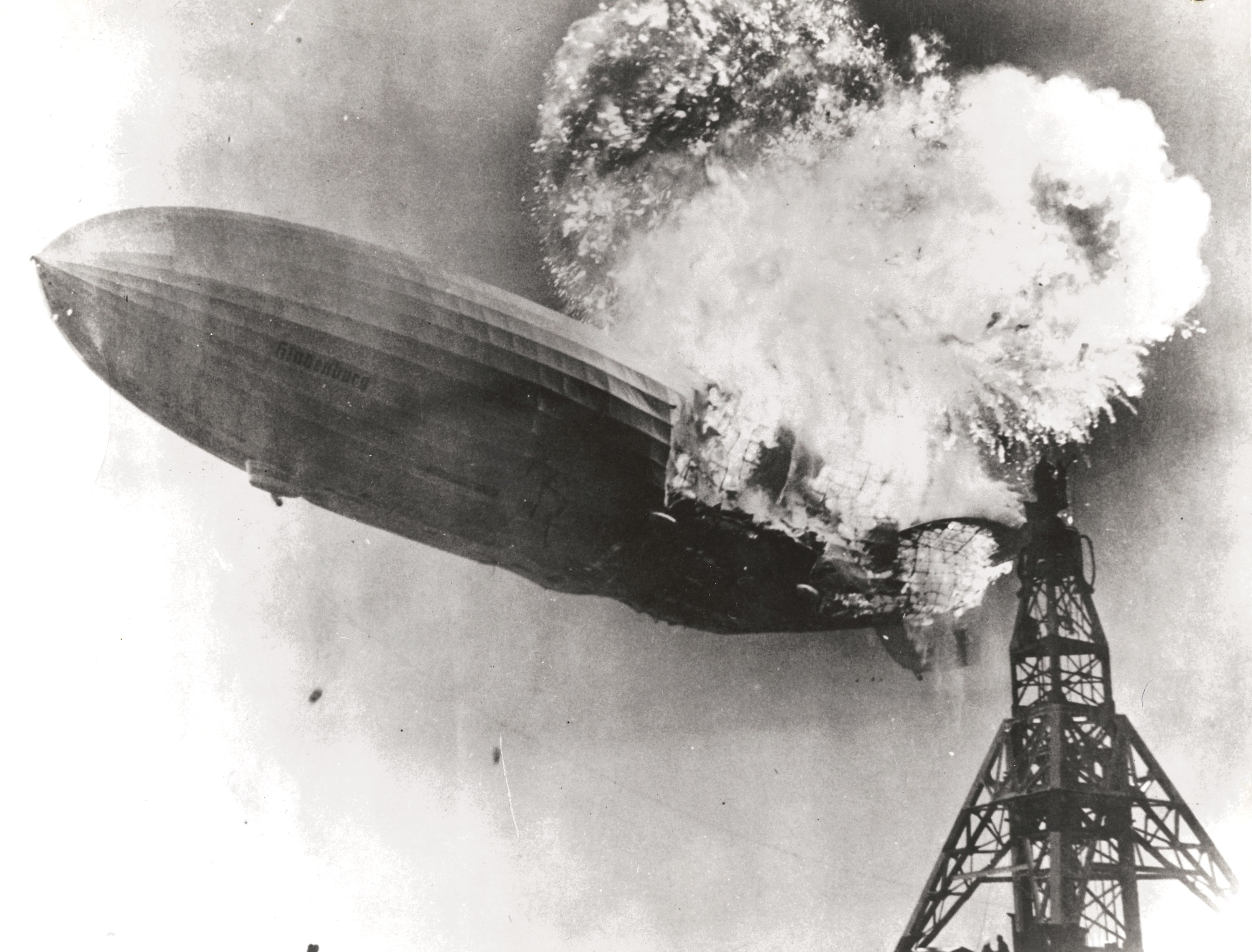 The Hindenburg crashes and burns.